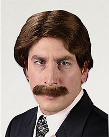 Brown 70s Man Wig and Mustache