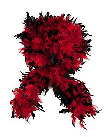 Red and Black Tipped Feather Boa