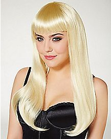 Long Blonde Wig With Bangs