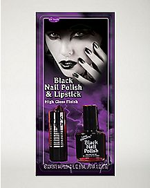Black Lipstick and Nail Polish Makeup Kit