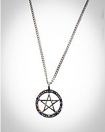 Pentagram with Zodiac Signs and Stones Necklace
