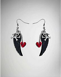 Black Wing, Skull, and Heart Dangle Earrings