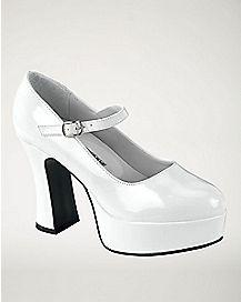 White Patent Mary Jane Platform Shoes