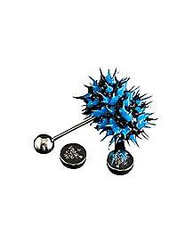 14 Gauge Blue/Black Koosh Vibrating Tongue Ring
