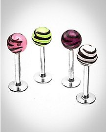 Multi-Color Zebra Print Labret Lip Ring 4 Pack - 16 Gauge