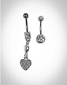 Heart Dangle Belly Ring 2 Pack - 14 Gauge