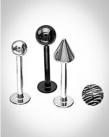 Zebra Ball & Spike Labret Lip Ring 3 Pack - 16 Gauge