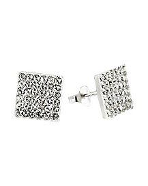 Pave Cubic Zirconium Square Stud Earrings
