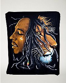 Lion Face Bob Marley Fleece Blanket