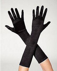 Black Satin Gloves