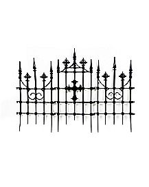 3 ft Gothic Cemetery Cross Fence - Decorations