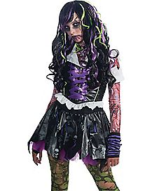 Black and Purple Streaks Zombie Wig