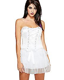 Front Lace Up Corset - White