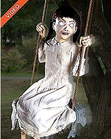 2 Ft Swinging Zombie Girl Animatronics - Decorations