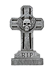 3 ft Spooky Cross Tombstone - Decorations