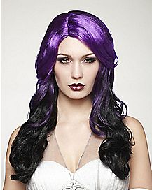 Purple and Black Curly Wig