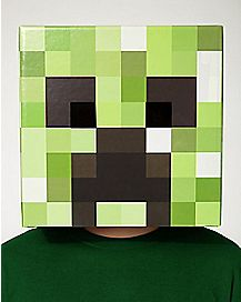 Cardboard Creeper Head Mask - Minecraft