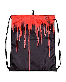 Black Blood Drip Cinch Bag