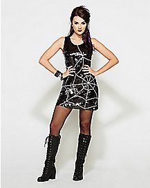 Sequin Spiderweb Witch Dress