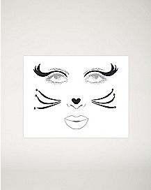 Black Cat Face Tattoo Decal