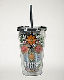 Black Sugar Skull Cup With Straw