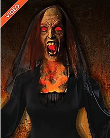 5 Ft Flaming Witch Animatronics - Decorations