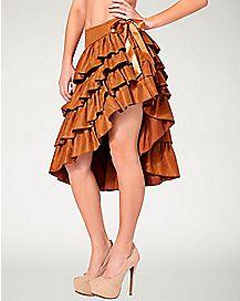Suede Ruffle Skirt