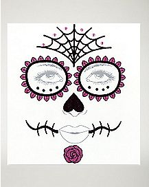 Sugar Skull Face Tattoo Decals