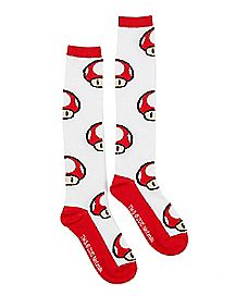 Red Mushroom Knee High Socks - Mario Bros.