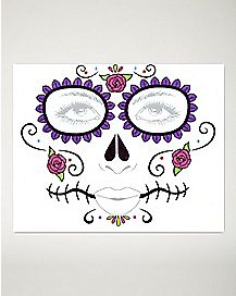 Floral Day of the Dead Face Tattoo Decal