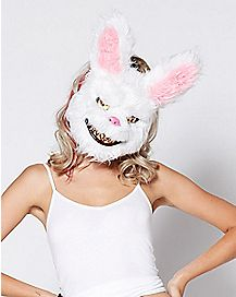 Scary Fluffy White Bunny Mask