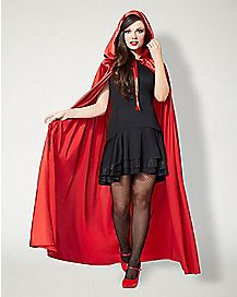 Red Satin Hooded Womens Cape