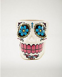 White Sugar Skull Shot Glass 2 oz