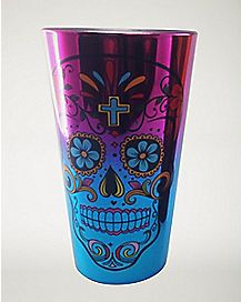 Day of the Dead Metallic Pint Glass