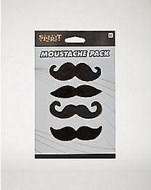 4 Pk Black Moustaches