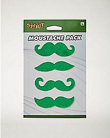 4pk Green Moustaches