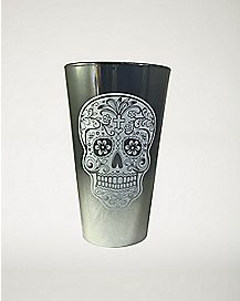 Black and Silver Skull Pint Glass