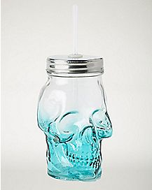 Teal Ombre Skull Glass With Straw 15 oz