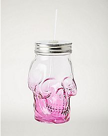 Pink Ombre Skull Glass With Straw 15 oz
