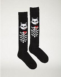 Skeleton Cat Knee High Socks