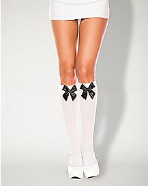 Adult Alice Satin Bow Knee High Socks