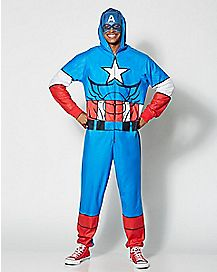 Adult Hooded Captain America One-Piece Pajamas - Marvel Comics