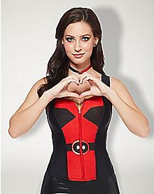 Deadpool Marvel Front Zip Up Corset