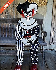 4.5 Ft Sitting Scare Clown Animatronics - Decorations