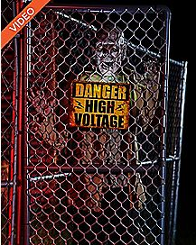 5 Ft Fenced In Hi-Voltage Zombie Animatronics - Decorations