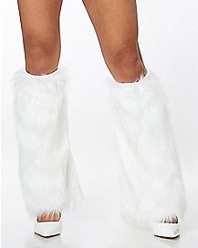 Adult White Furries Faux Fur Leg Warmers