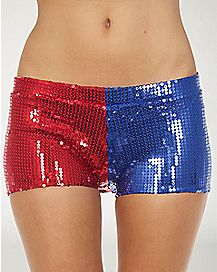 Adult Sequin Harley Quinn Shorts - Suicide Squad