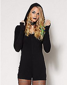 Adult Black Hooded Romper