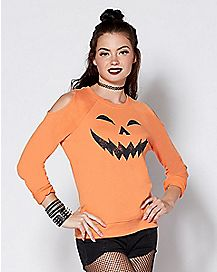 Cold Shoulder Pumpkin Sweatshirt