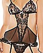 Hustler Lace and Mesh Cut Out Teddy and Thong Set